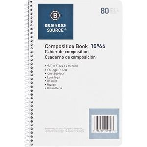 """Business Source College Ruled Composition Books - 80 Sheets - Wire Bound - 16 lb Basis Weight - 6"""" x 9 1/2"""" - White Paper - Stiff-back - 1Each. Picture 3"""
