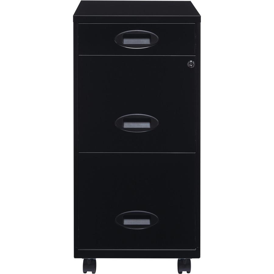 """Lorell SOHO 18"""" 3-Drawer File Cabinet - 14.3"""" x 18"""" x 27"""" - 3 x Drawer(s) for Accessories, File - Letter - Locking Drawer, Glide Suspension - Black - Baked Enamel - Plastic, Steel - Recycled - Assembl. Picture 9"""