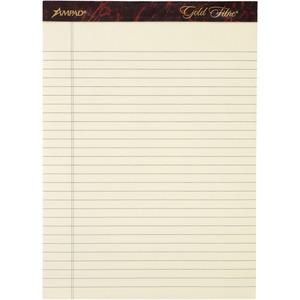 """Ampad Gold Fibre Legal Rule Retro Writing Pads - 50 Sheets - Wire Bound - 0.34"""" Ruled - 20 lb Basis Weight - 8 1/2"""" x 11 3/4"""" - Ivory Paper - Micro Perforated, Easy Tear, Chipboard Backing, Heavyweigh. Picture 4"""