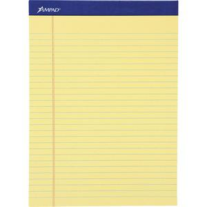 """Ampad Basic Slot-perforated Pads - 50 Sheets - Stapled - 0.34"""" Ruled - 20 lb Basis Weight - 8 1/2"""" x 11 3/4"""" - Yellow Paper - Canary Cover - Environmentally Friendly, Perforated, Chipboard Backing - 1. Picture 2"""
