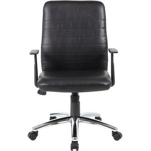 Boss B431-BK Retro Task Chair with Black T-Arms - Black Vinyl Seat - Black Vinyl Back - Chrome, Black Chrome Frame - 5-star Base - 1 Each. Picture 2