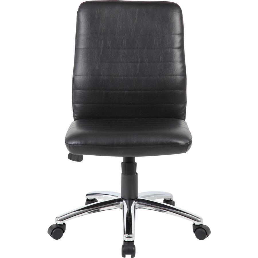 Boss B430 Task Chair - Black Vinyl Seat - Black Vinyl Back - Chrome, Black Chrome Frame - 5-star Base - 1 Each. Picture 7