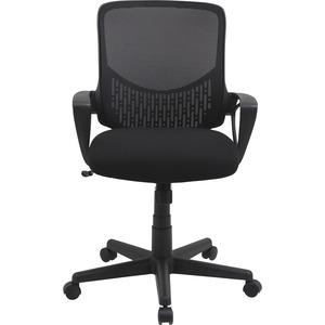"""Lorell Value Collection Mesh Back Task Chair - Black Fabric Seat - Black Fabric Back - 24.6"""" Width x 14.3"""" Depth x 23.6"""" Height - 1 Each. Picture 4"""