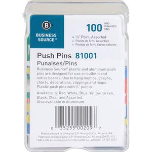 """Business Source 1/2"""" Head Push Pins - 0.50"""" Head - 100 / Box - Assorted - Steel. Picture 3"""
