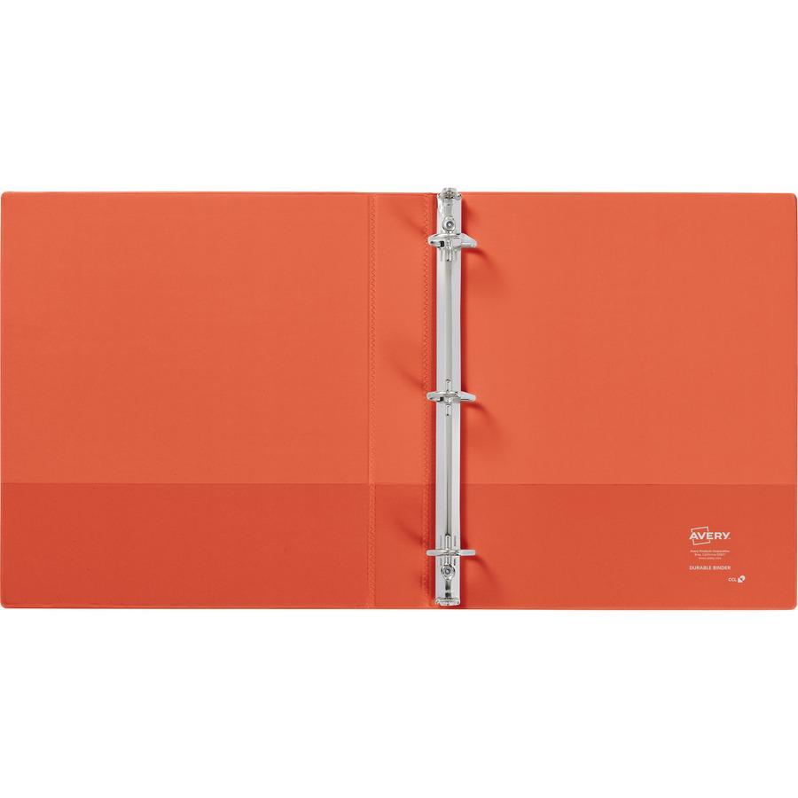 "Avery® Durable View 3 Ring Binder, 1"" Slant Rings, 1 Orange Binder - 1"" Binder Capacity - Letter - 8 1/2"" x 11"" Sheet Size - 250 Sheet Capacity - 3 x Slant Ring Fastener(s) - 2 Pocket(s) - Polypro. Picture 5"