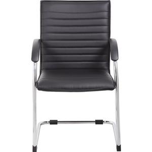 """Boss Chrome Frame, Black Vinyl Side Chair, 2 pack - Black Vinyl Seat - Black Vinyl Back - Chrome Polywood Frame - Cantilever Base - 20"""" Seat Width x 18"""" Seat Depth - 23"""" Width x 24.5"""" Depth x 37.5"""" He. Picture 8"""