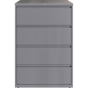 """Lorell 36"""" Silver Lateral File - 4-Drawer - 36"""" x 18.6"""" x 52.5"""" - 4 x Drawer(s) for File - Letter, Legal, A4 - Lateral - Hanging Rail, Magnetic Label Holder, Locking Drawer, Locking Bar, Ball Bearing . Picture 4"""