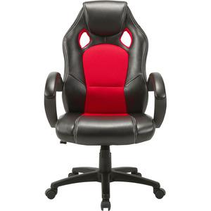 Lorell High-back 2-Color Economy Gaming Chair - Mesh, Polyurethane, Nylon - Black, Red. Picture 8