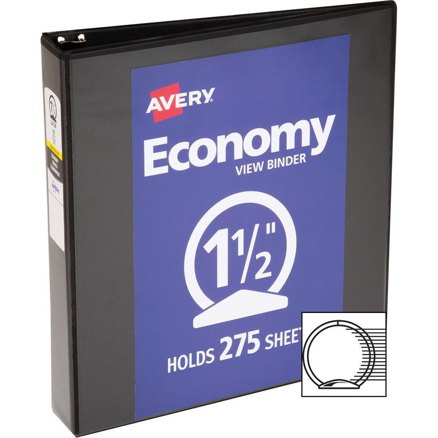 "Avery® Economy View Binder - 1 1/2"" Binder Capacity - Letter - 8 1/2"" x 11"" Sheet Size - 275 Sheet Capacity - 3 x Round Ring Fastener(s) - 2 Internal Pocket(s) - Vinyl - Black - 15.84 oz - Gap-fre. Picture 4"