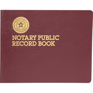 """Dome Notary Public Book - 64 Sheet(s) - Thread Sewn - 10 1/2"""" x 8 1/4"""" Sheet Size - 10 Columns per Sheet - Burgundy - White Sheet(s) - Maroon Cover - Recycled - 1 Each. Picture 2"""