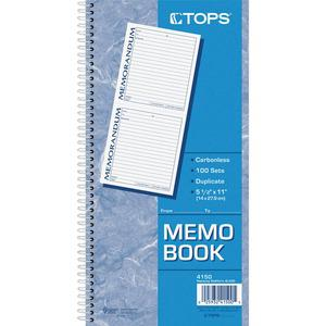 """TOPS Memorandum Forms Book - 100 Sheet(s) - Spiral Bound - 2 PartCarbonless Copy - 5.50"""" x 5"""" Form Size - 5 1/2"""" x 11"""" Sheet Size - White, Canary - Assorted Sheet(s) - Blue, Red Print Color - 1 Each. Picture 5"""