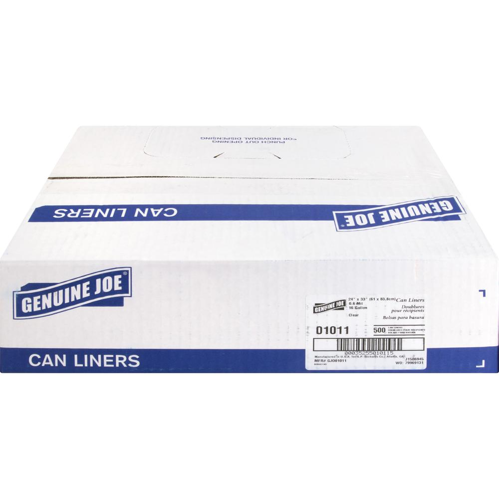 """Genuine Joe Clear Trash Can Liners - Small Size - 16 gal - 24"""" Width x 33"""" Length x 0.60 mil (15 Micron) Thickness - Low Density - Clear - 500/Carton. Picture 3"""