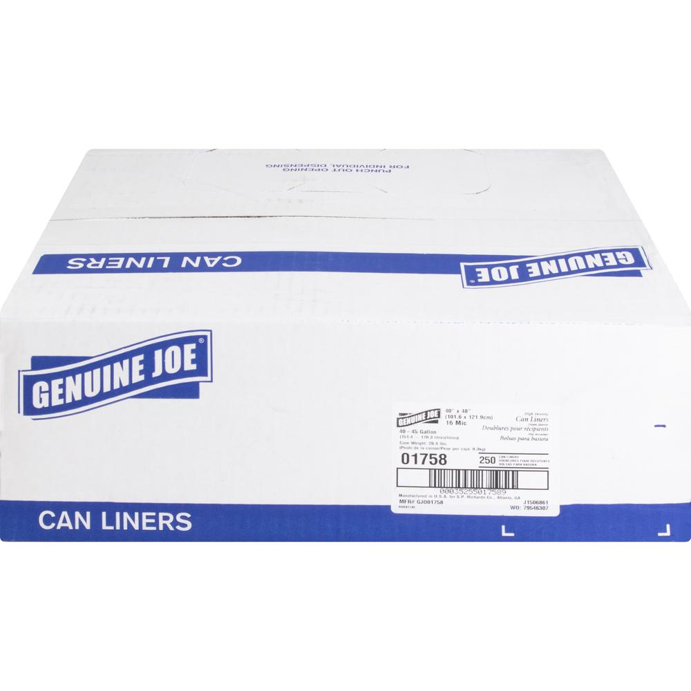 """Genuine Joe High-density Can Liners - Large Size - 45 gal - 40"""" Width x 48"""" Length x 0.63 mil (16 Micron) Thickness - High Density - Clear - Resin - 250/Carton - Office Waste, Industrial Trash. Picture 2"""