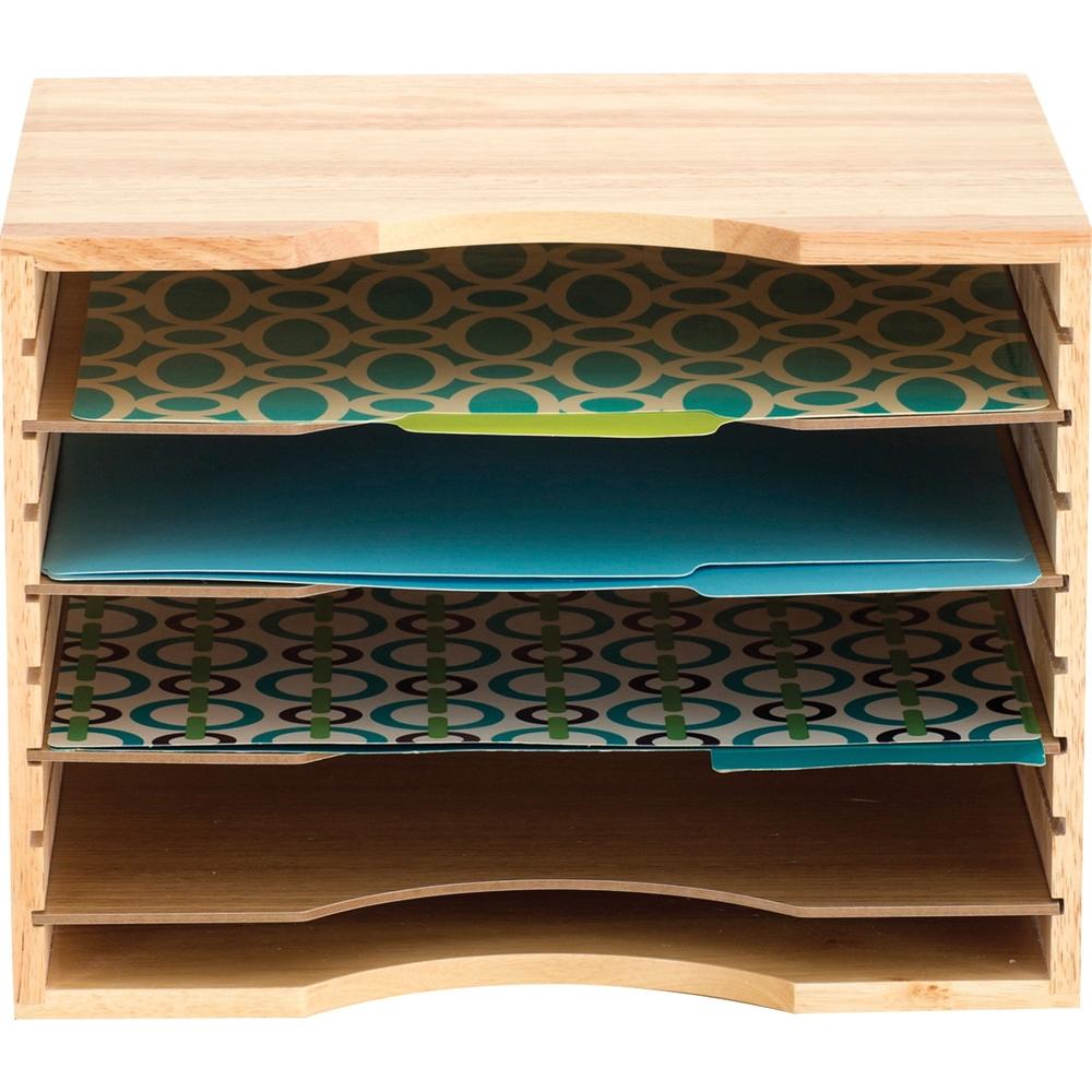 "Safco Wood Stackable Sorters - 5 Compartment(s) - 4 Divider(s) - 9.5"" Height x 12.8"" Width x 9.3"" Depth - Desktop - Light Oak - Wood - 1Each. Picture 3"