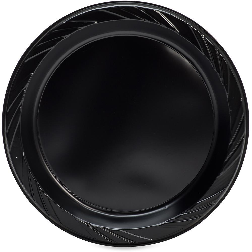 "Genuine Joe Round Plastic Black Plates - 9"" Diameter Plate - Plastic - Black - 125 Piece(s) / Pack. Picture 6"
