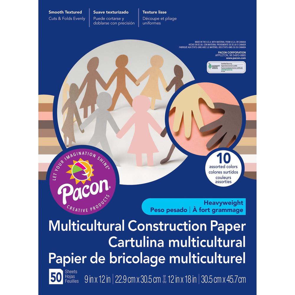 """SunWorks Multicultural Construction Paper - Art, Craft - 0.40"""" x 18""""12"""" - 50 / Pack - Assorted. Picture 4"""