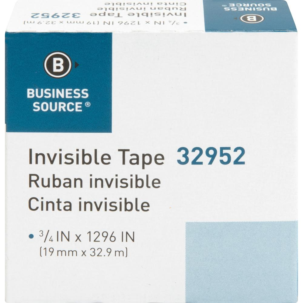 """Business Source Invisible Tape Dispenser Refill Roll - 36 yd Length x 0.75"""" Width - 1"""" Core - 1 Roll - Clear. Picture 3"""