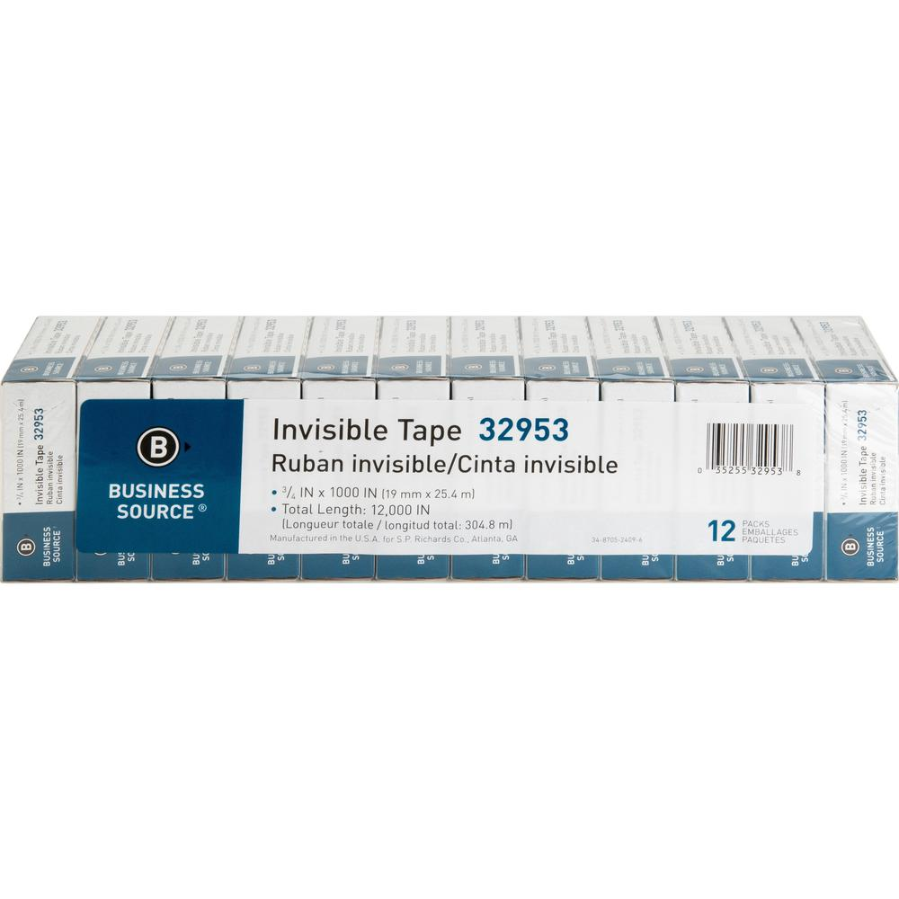 """Business Source Premium Invisible Tape Value Pack - 27.78 yd Length x 0.75"""" Width - 1"""" Core - 12 / Pack - Clear. Picture 3"""