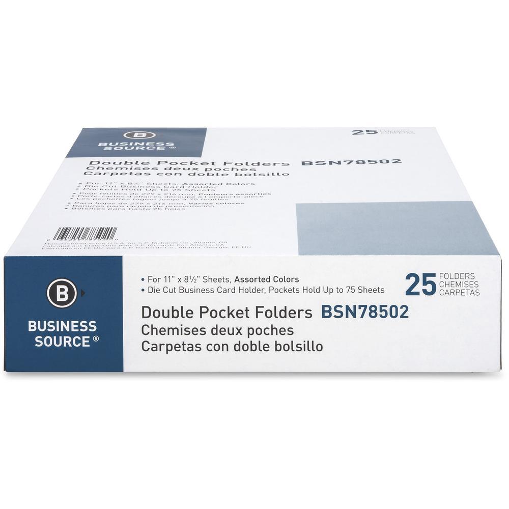 Business Source Two-Pocket Folders - Letter - 8 1/2\