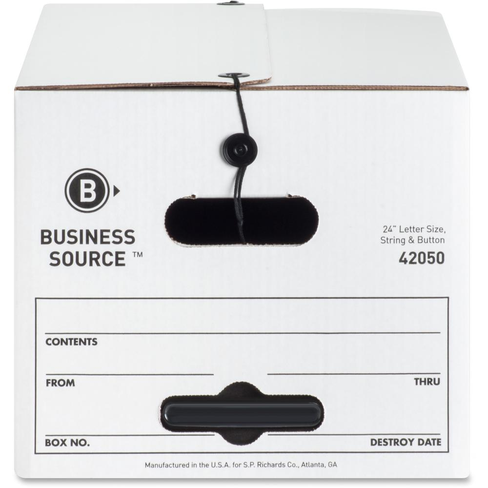 "Business Source Light Duty Letter Size Storage Box - External Dimensions: 12"" Width x 24"" Depth x 10""Height - 350 lb - Media Size Supported: Letter - Light Duty - Stackable - White - For File - Recycl. Picture 9"