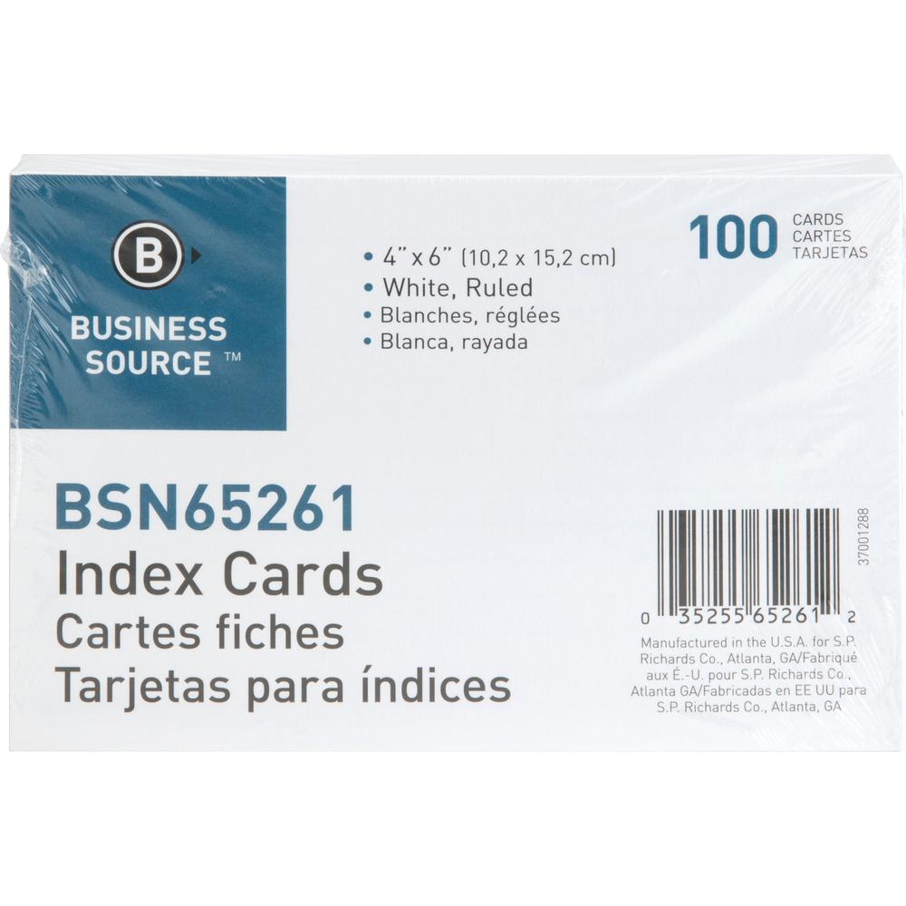 """Business Source Ruled White Index Cards - 6"""" Width x 4"""" Length - 100 / Pack. Picture 2"""