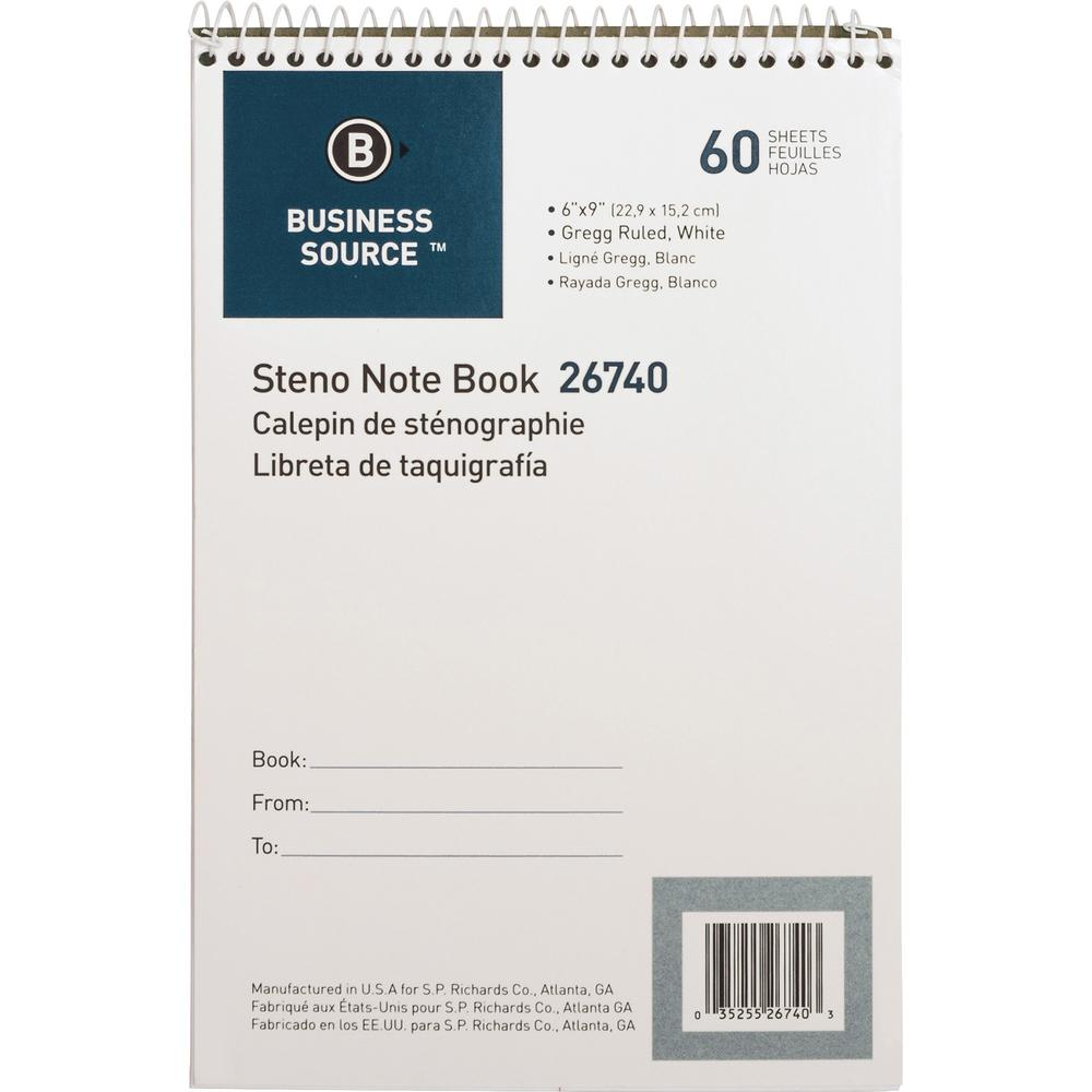 """Business Source Steno Notebook - 60 Sheets - Wire Bound - Gregg Ruled - 15 lb Basis Weight - 6"""" x 9"""" - White Paper - Stiff-back - 1Each. Picture 3"""