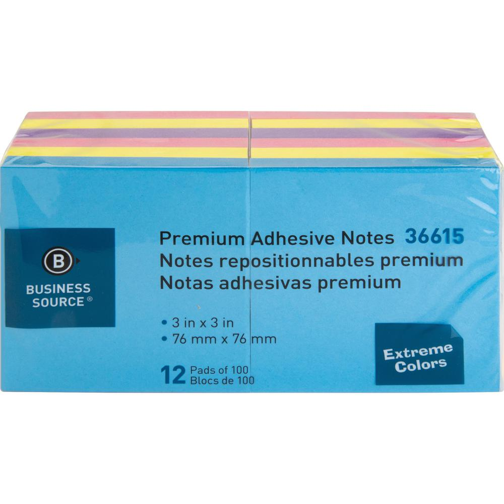 """Business Source 3x3 Extreme Colors Adhesive Notes - 100 - 3"""" x 3"""" - Square - Assorted - Repositionable, Solvent-free Adhesive - 12 / Pack. Picture 8"""