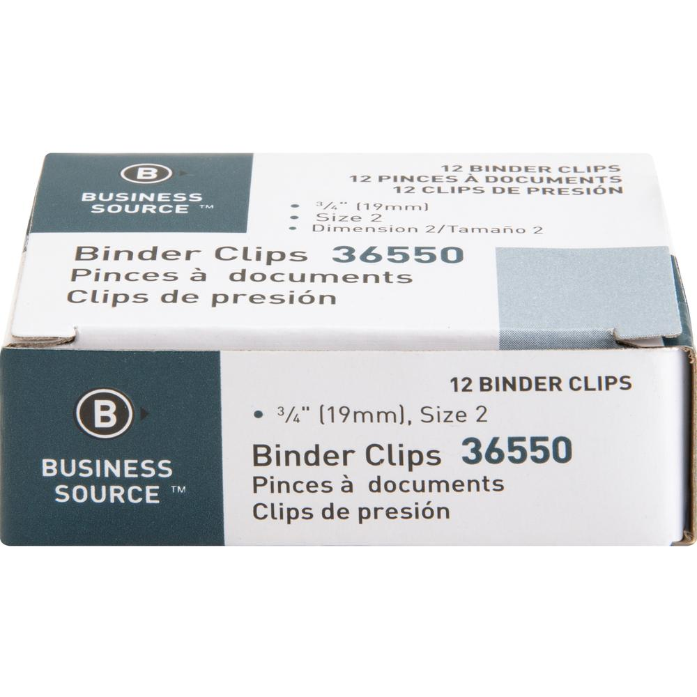 """Business Source Fold-back Binder Clips - Small - 0.8"""" Width - 0.38"""" Size Capacity - 12 / Dozen - Black - Steel. Picture 2"""