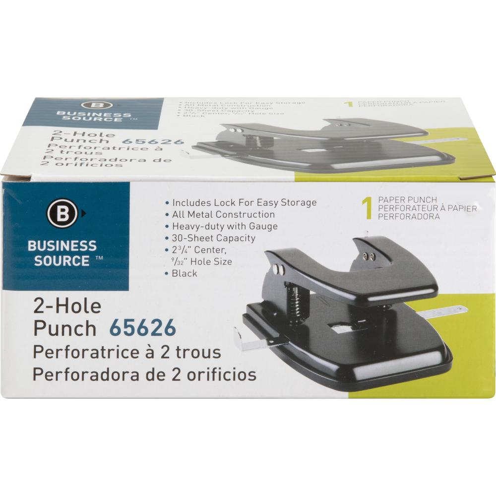 """Business Source Heavy-duty 2-Hole Punch - 2 Punch Head(s) - 30 Sheet Capacity - 9/32"""" Punch Size - Round Shape - Black. Picture 3"""