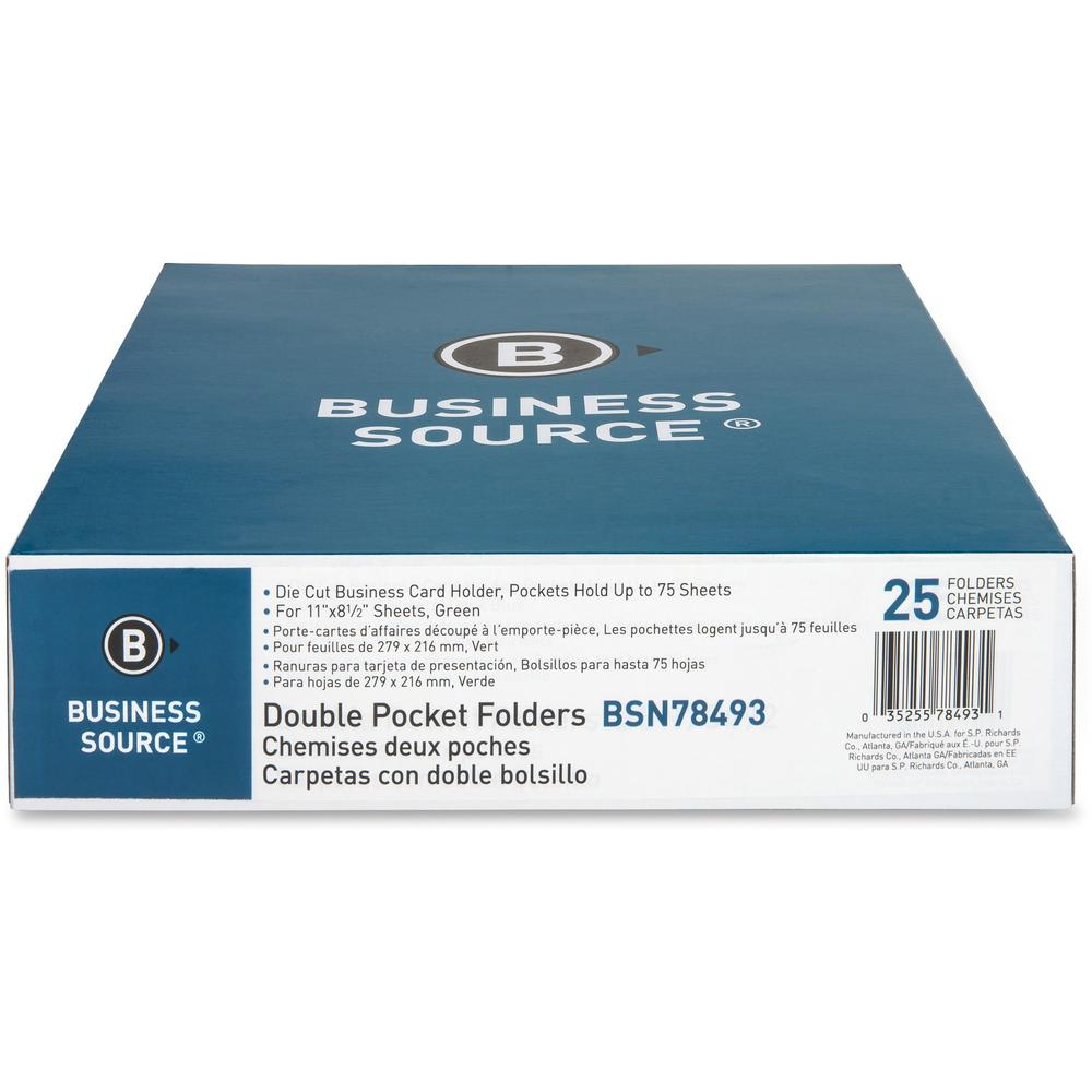 "Business Source Two-Pocket Folders - Letter - 8 1/2"" x 11"" Sheet Size - 125 Sheet Capacity - 2 Inside Front & Back Pocket(s) - Paper - Green - Recycled - 25 / Box. Picture 4"