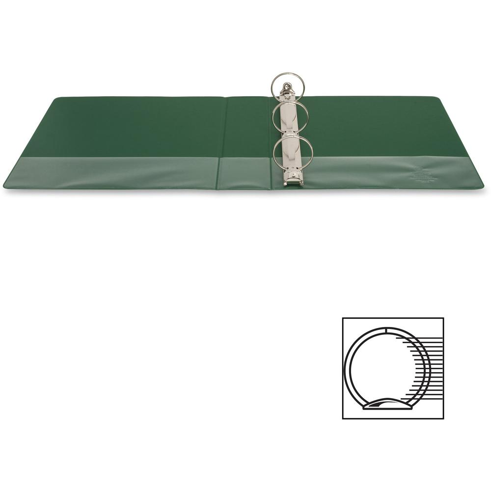"""Business Source Basic Round-ring Binder - 2"""" Binder Capacity - Letter - 8 1/2"""" x 11"""" Sheet Size - 3 x Round Ring Fastener(s) - Vinyl - Green - Open and Closed Triggers - 1 Each. Picture 6"""
