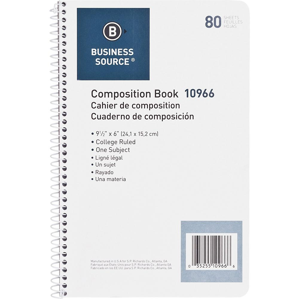 """Business Source College Ruled Composition Books - 80 Sheets - Wire Bound - 16 lb Basis Weight - 6"""" x 9 1/2"""" - White Paper - Stiff-back - 1Each. Picture 6"""