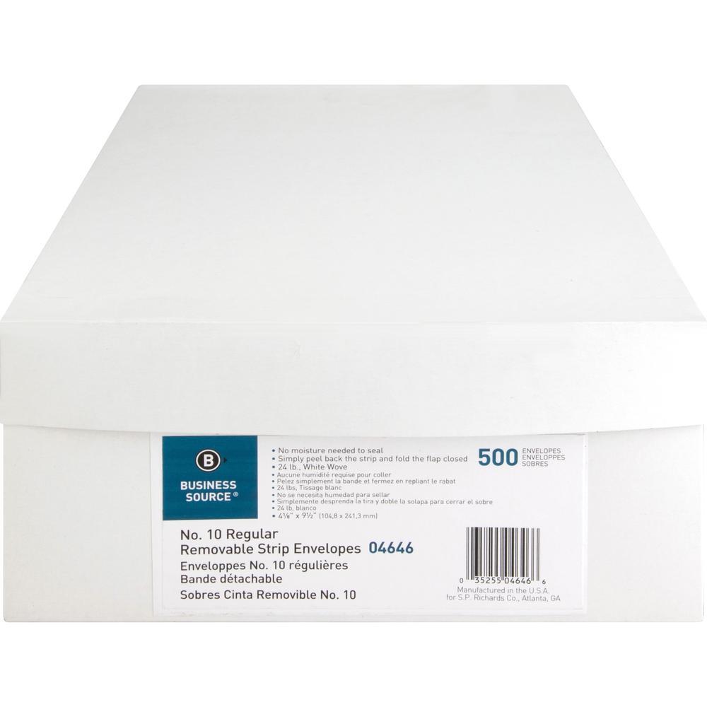 "Business Source Plain Peel/Seal Business Envelopes - Business - #10 - 9 1/2"" Width x 4 1/8"" Length - 24 lb - Peel & Seal - Wove - 500 / Box - White. Picture 5"