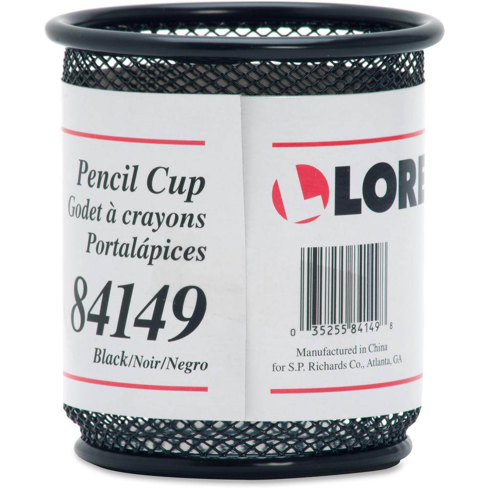 Lorell Black Mesh/Wire Pencil Cup Holder - 3.5\