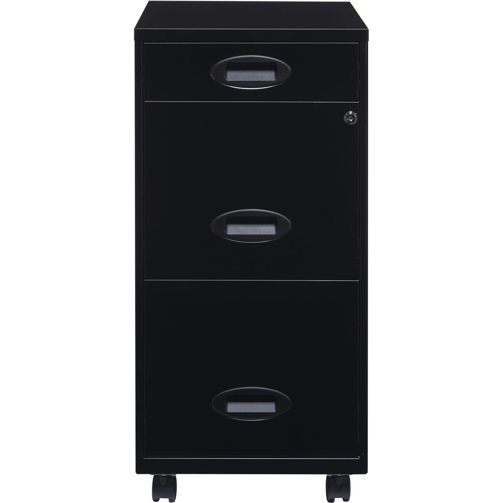 """Lorell SOHO 18"""" 3-Drawer File Cabinet - 14.3"""" x 18"""" x 27"""" - 3 x Drawer(s) for Accessories, File - Letter - Locking Drawer, Glide Suspension - Black - Baked Enamel - Plastic, Steel - Recycled - Assembl. Picture 2"""