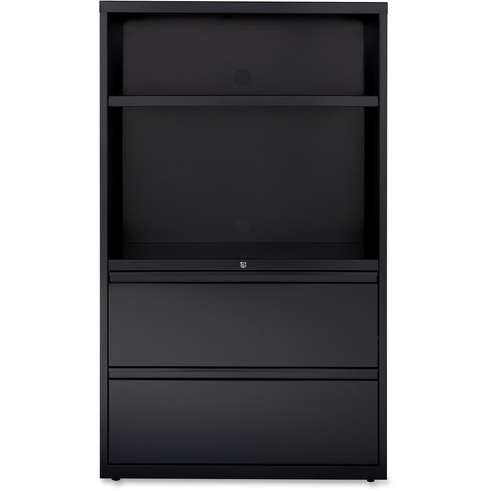 """Lorell 36"""" Lateral Hanging File Drawers Combo Unit - 36"""" x 18.6"""" x 60"""" - 2 x Drawer(s) for File - Legal, Letter, A4 - Lateral - Cable Management, Leveling Glide, Adjustable Glide, Locking Drawer, Dura. Picture 6"""