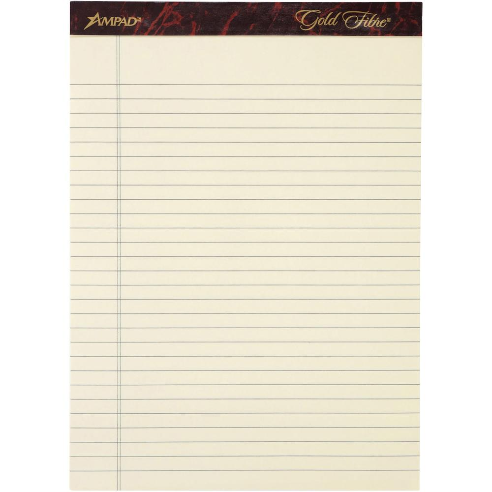 """Ampad Gold Fibre Legal Rule Retro Writing Pads - 50 Sheets - Wire Bound - 0.34"""" Ruled - 20 lb Basis Weight - 8 1/2"""" x 11 3/4"""" - Ivory Paper - Micro Perforated, Easy Tear, Chipboard Backing, Heavyweigh. Picture 2"""