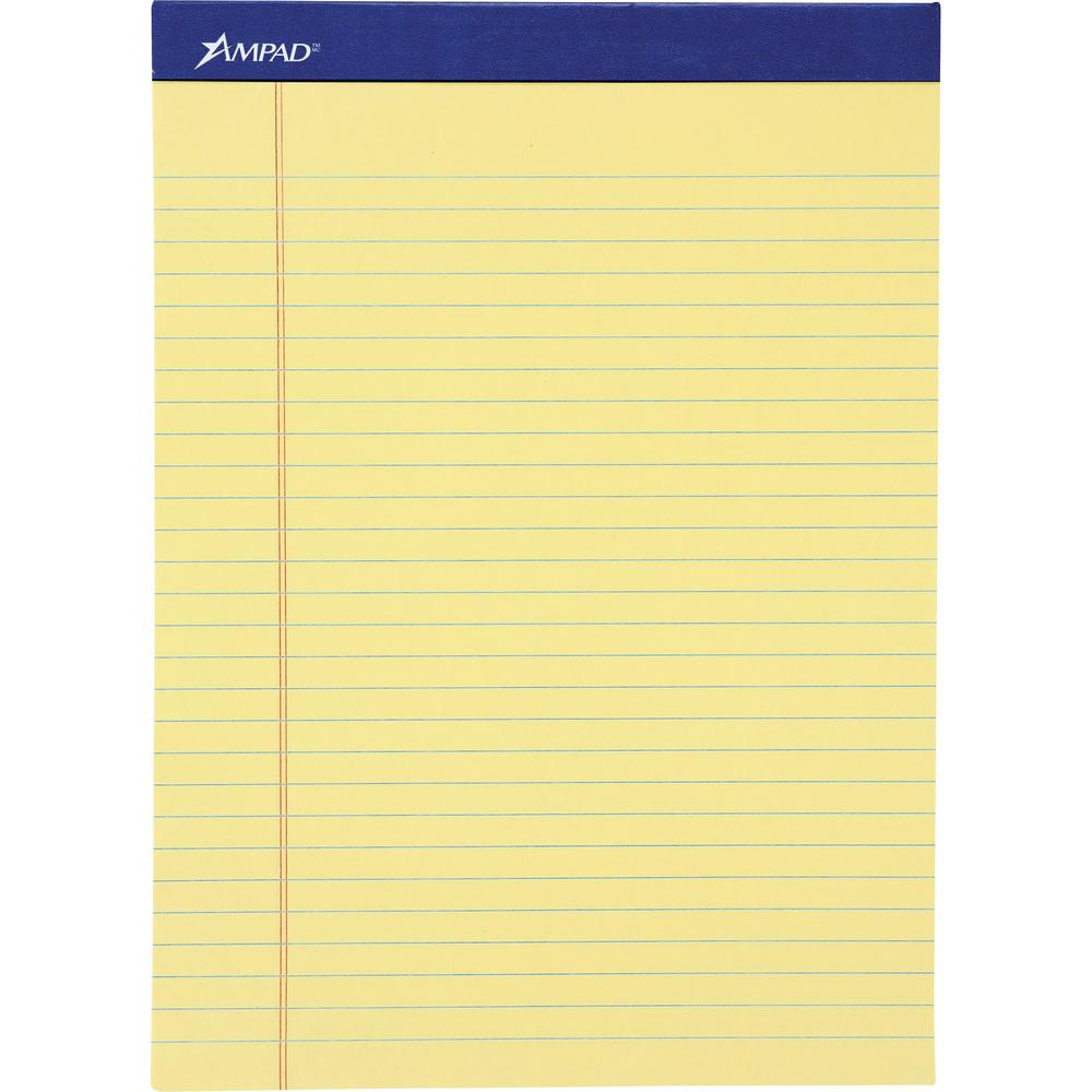 """Ampad Basic Slot-perforated Pads - 50 Sheets - Stapled - 0.34"""" Ruled - 20 lb Basis Weight - 8 1/2"""" x 11 3/4"""" - Yellow Paper - Canary Cover - Environmentally Friendly, Perforated, Chipboard Backing - 1. Picture 3"""