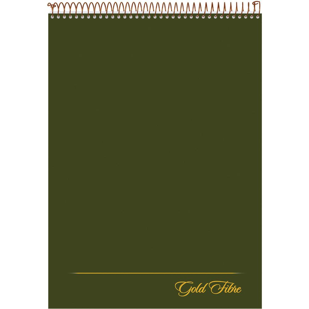 "Ampad Gold Fibre Classic Wirebound Legal Pads - 70 Sheets - Wire Bound - 0.34"" Ruled - 20 lb Basis Weight - 8 1/2"" x 11 3/4"" - White Paper - Classic Green Cover - Micro Perforated, Stiff-back, Chipboa. Picture 2"