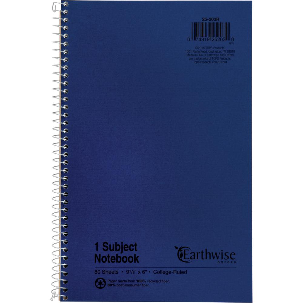 "Ampad Oxford College Rule Recycled Wirebound Notebook - 80 Sheets - Wire Bound - 6"" x 9 1/2"" - Blue Cover - Recycled - 1Each. Picture 2"