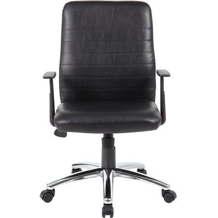 Boss B431-BK Retro Task Chair with Black T-Arms - Black Vinyl Seat - Black Vinyl Back - Chrome, Black Chrome Frame - 5-star Base - 1 Each. Picture 4