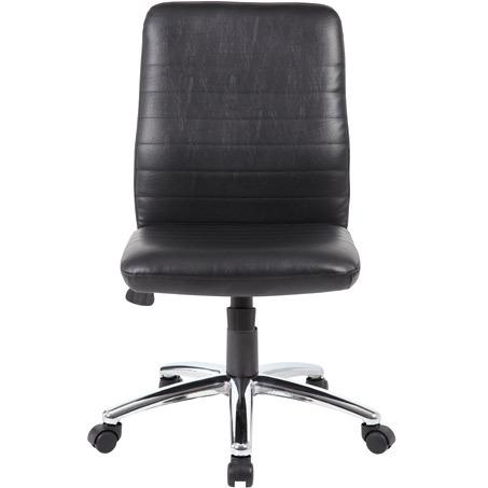 Boss B430 Task Chair - Black Vinyl Seat - Black Vinyl Back - Chrome, Black Chrome Frame - 5-star Base - 1 Each. Picture 10