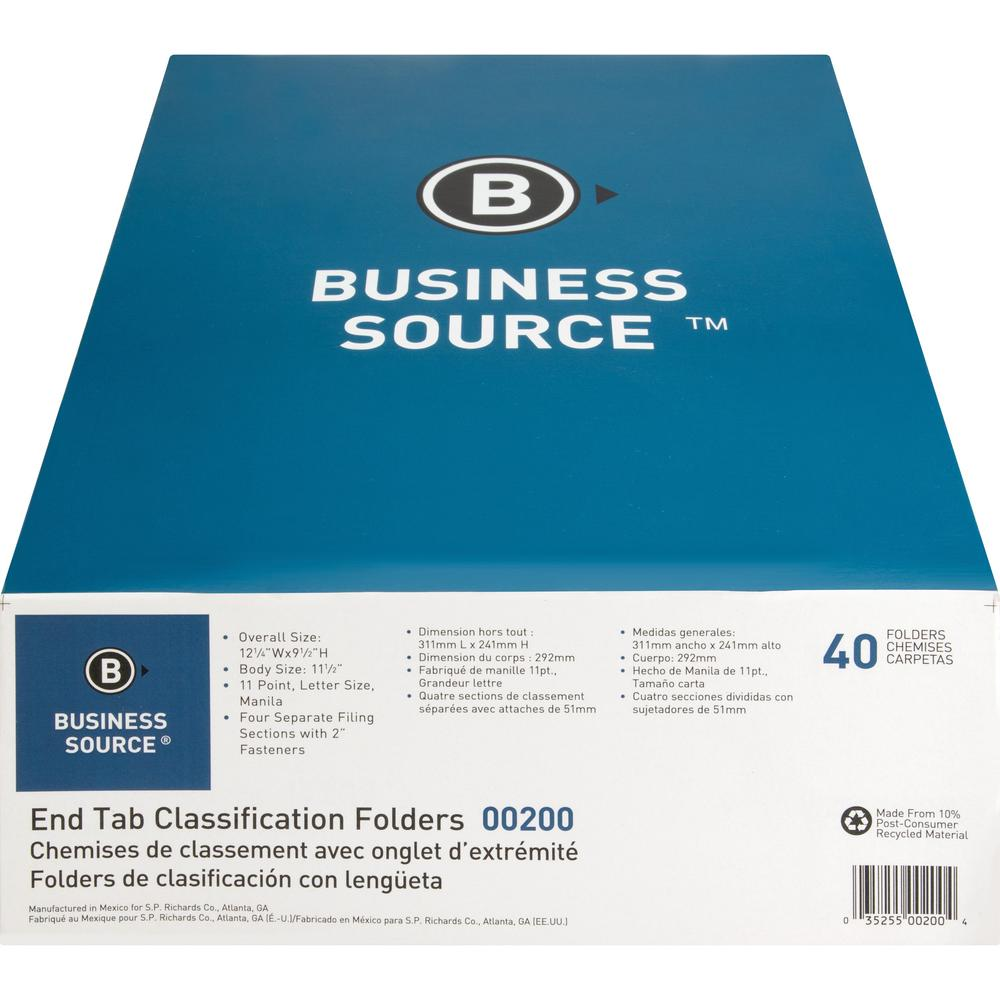 """Business Source 3/4"""" Expanding Medical File Folders - Letter - 8 1/2"""" x 11"""" Sheet Size - 3/4"""" Expansion - 2"""" Fastener Capacity - End Tab Location - 11 pt. Folder Thickness - Manila - Recycled - 40 / B. Picture 7"""