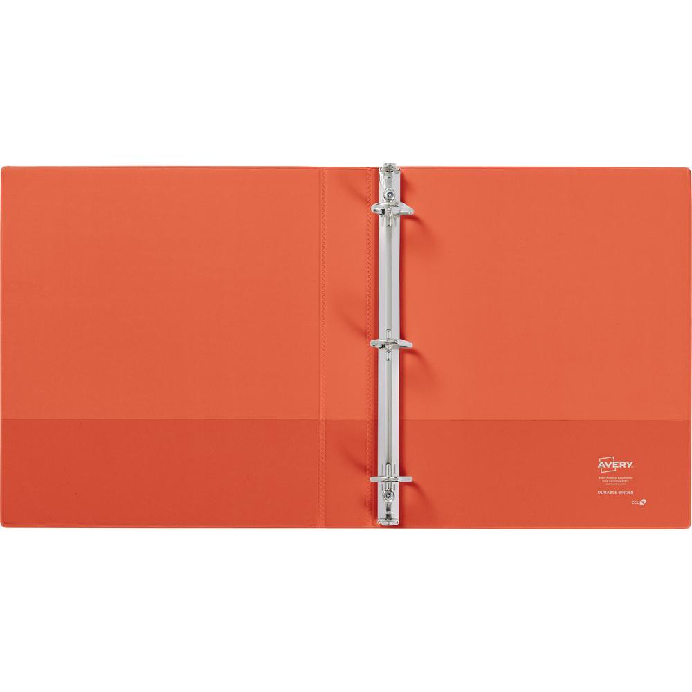 "Avery® Durable View 3 Ring Binder, 1"" Slant Rings, 1 Orange Binder - 1"" Binder Capacity - Letter - 8 1/2"" x 11"" Sheet Size - 250 Sheet Capacity - 3 x Slant Ring Fastener(s) - 2 Pocket(s) - Polypro. Picture 2"