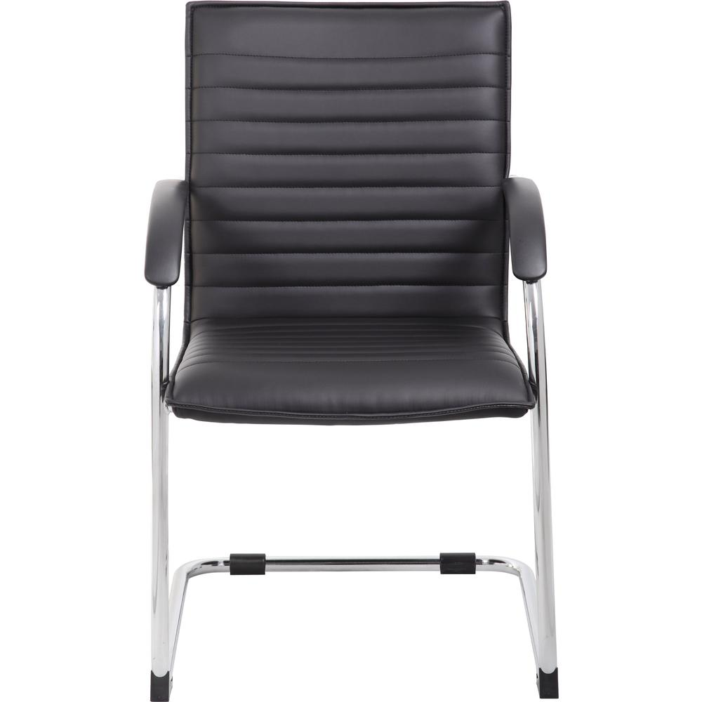 """Boss Chrome Frame, Black Vinyl Side Chair, 2 pack - Black Vinyl Seat - Black Vinyl Back - Chrome Polywood Frame - Cantilever Base - 20"""" Seat Width x 18"""" Seat Depth - 23"""" Width x 24.5"""" Depth x 37.5"""" He. Picture 10"""