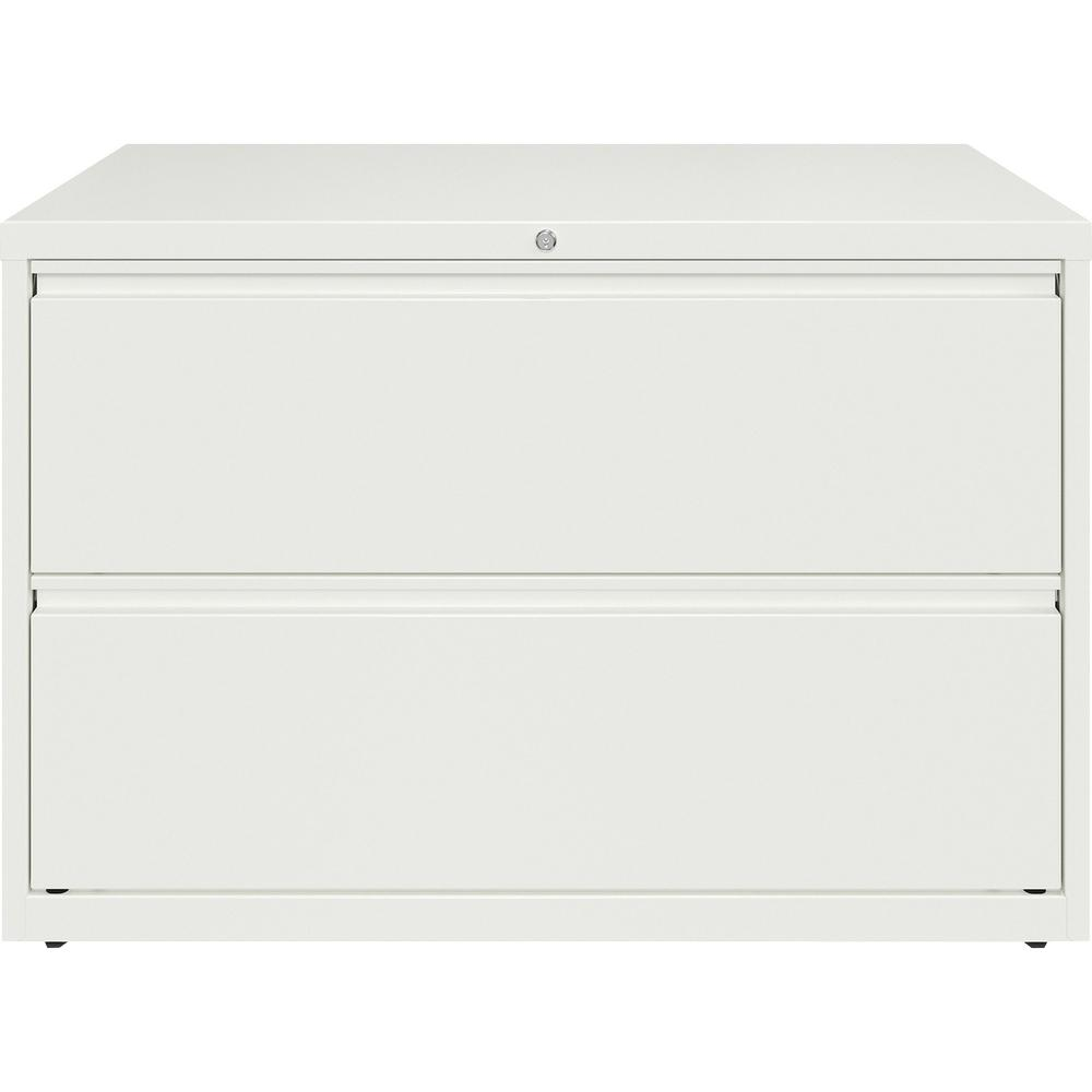 "Lorell 42"" White Lateral File - 2-Drawer - 42"" x 18.6"" x 28"" - 2 x Drawer(s) for File - Letter, Legal, A4 - Hanging Rail, Magnetic Label Holder, Locking Drawer, Locking Bar, Ball Bearing Slide, Reinfo. Picture 4"