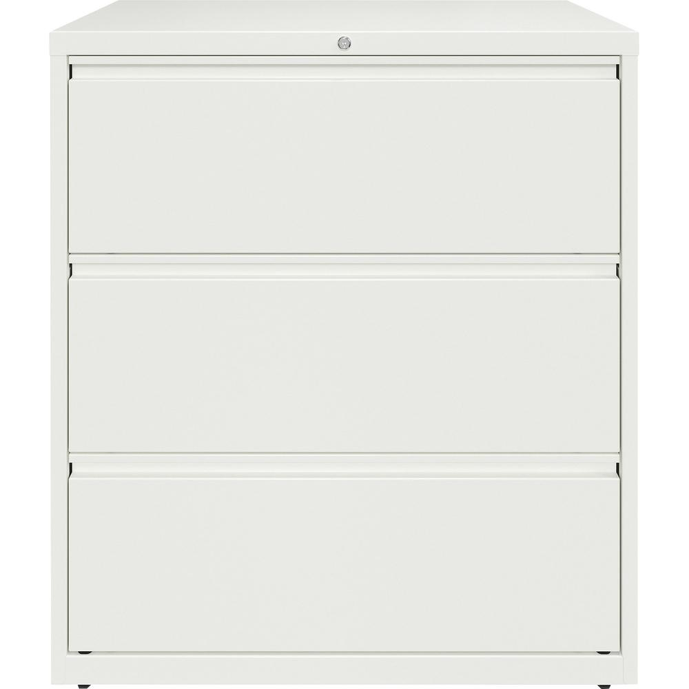 """Lorell 36"""" White Lateral File - 3-Drawer - 36"""" x 18.6"""" x 40.3"""" - 3 x Drawer(s) for File - Letter, Legal, A4 - Lateral - Hanging Rail, Magnetic Label Holder, Locking Drawer, Locking Bar, Ball Bearing S. Picture 2"""