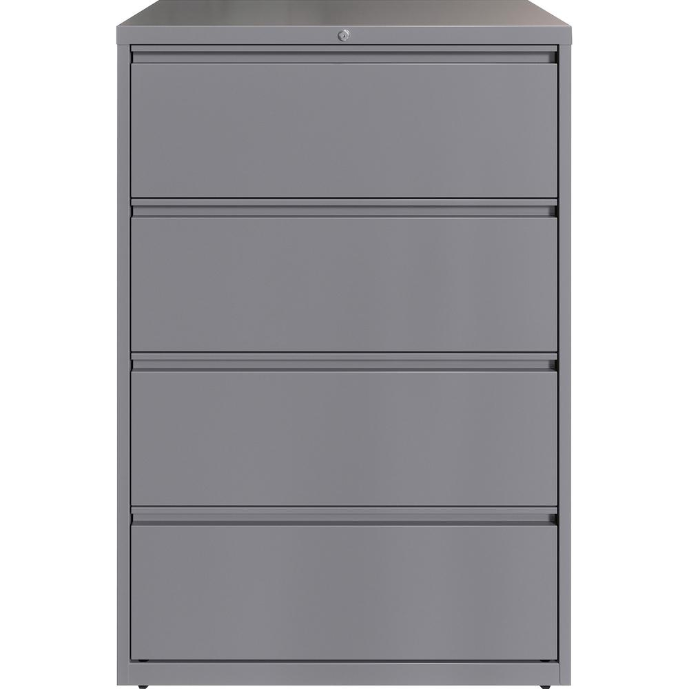 """Lorell 36"""" Silver Lateral File - 4-Drawer - 36"""" x 18.6"""" x 52.5"""" - 4 x Drawer(s) for File - Letter, Legal, A4 - Lateral - Hanging Rail, Magnetic Label Holder, Locking Drawer, Locking Bar, Ball Bearing . Picture 3"""