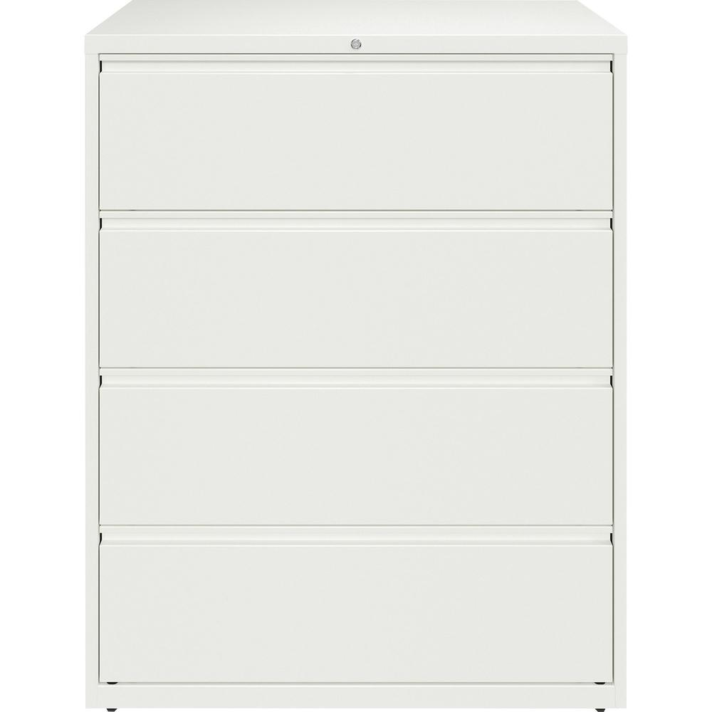 """Lorell 42"""" White Lateral File - 4-Drawer - 42"""" x 18.6"""" x 52.5"""" - 4 x Drawer(s) for File - Letter, Legal, A4 - Lateral - Hanging Rail, Magnetic Label Holder, Locking Drawer, Locking Bar, Ball Bearing S. Picture 4"""