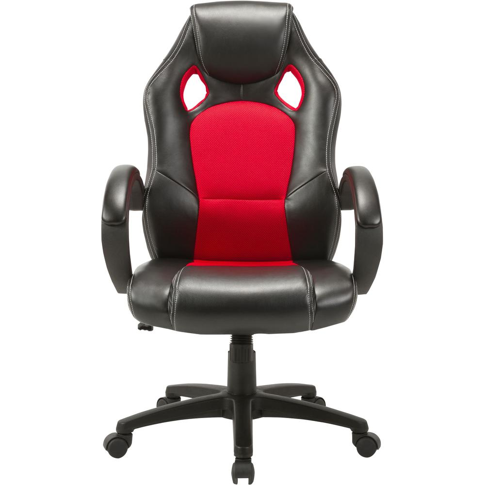 Lorell High-back 2-Color Economy Gaming Chair - Mesh, Polyurethane, Nylon - Black, Red. Picture 6